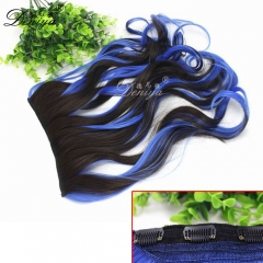 Factory Long wave synthetic hair extensions clip in synthetic hair extensions wholesale