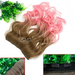 Fancy pink ombre color fashion curly synthetic one piece clip in hair extension one piece wefts