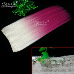 Factory price ombre white to pink synthetic clip in hair extension