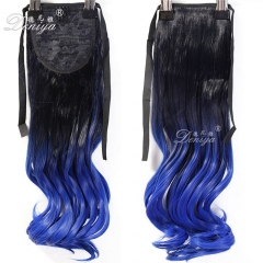 Most Popular Ombre Blue Color Ribbon Ponytail Hairpiece Extension Clip Hairpieces