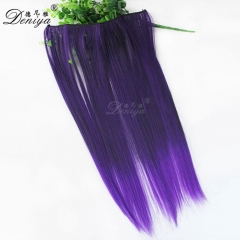 Ombre color fashion straight synthetic long flip in extensions