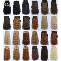 Fashion kinky culry charming pony tail apply hair extension wrap around horse tail