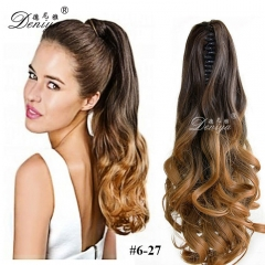 Fashion two tone ombre color charming claw curly pony tail apply hair extension